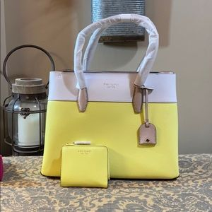 Kate Spade Eva satchel & L-zip wallet limelight